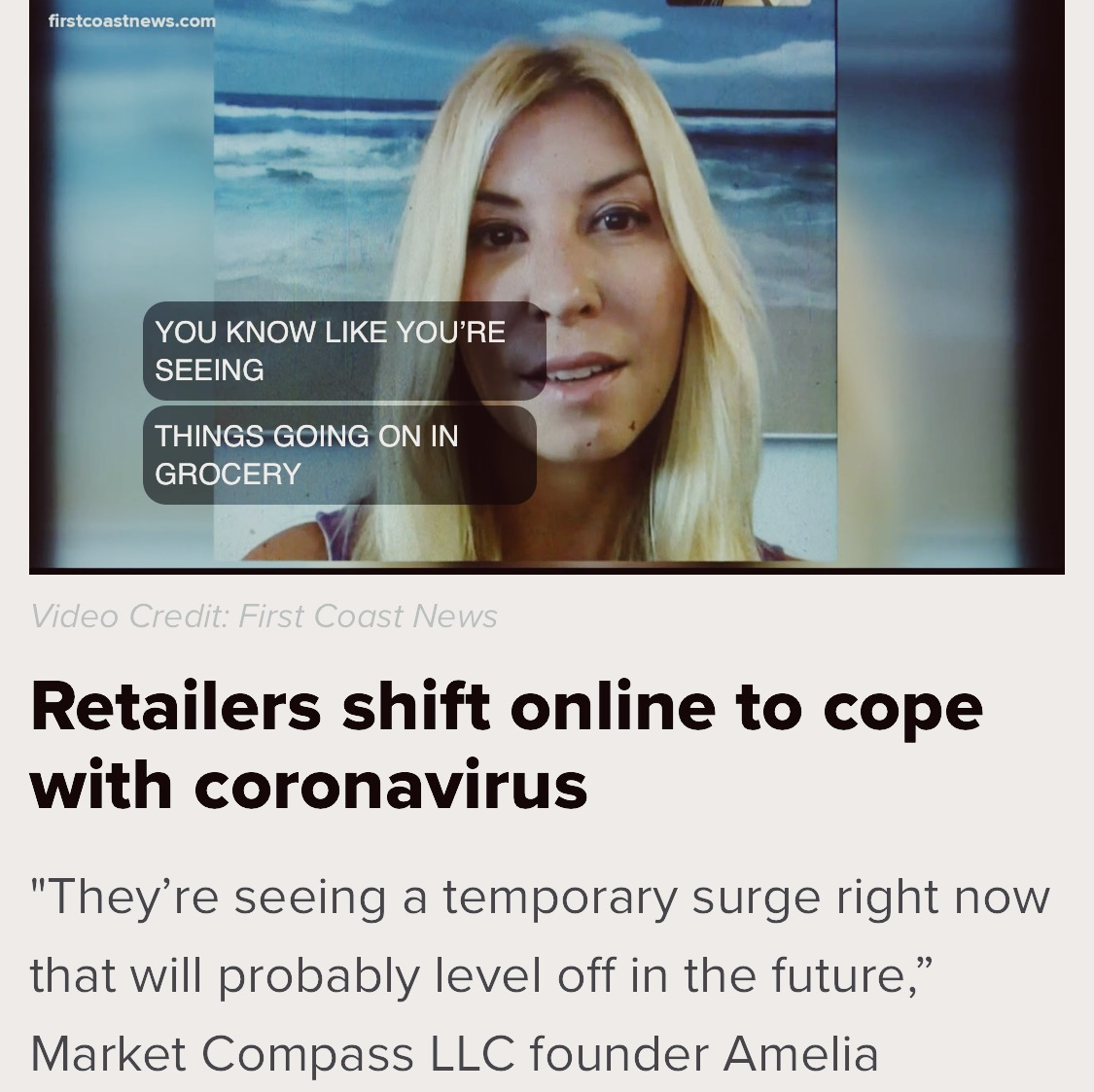 Coronavirus Impacting Retailers & Consumers: First Coast News, 18 Mar 2020